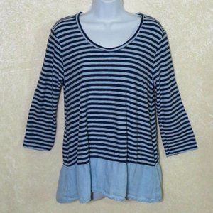 Cut Loose Blue Striped Linen 3/4 Sleeve Blouse Top